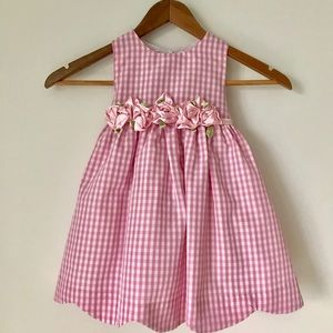 Pink Gingham 2T Flower Sash Dress
